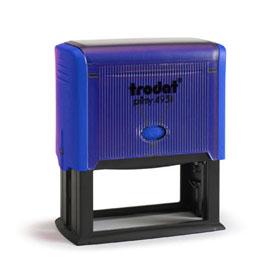 Tampon Trodat 4931 personnalisable - utilisation bureau - format 70X30 mm - bleu