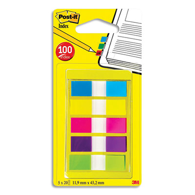 Carte de 20 marque page index largeur 1.2 cm - 5 coloris assortis (photo)