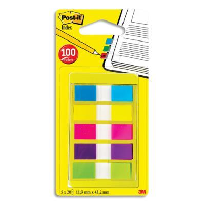Carte de 20 marque page index largeur 1.2 cm - 5 coloris assortis (photo)