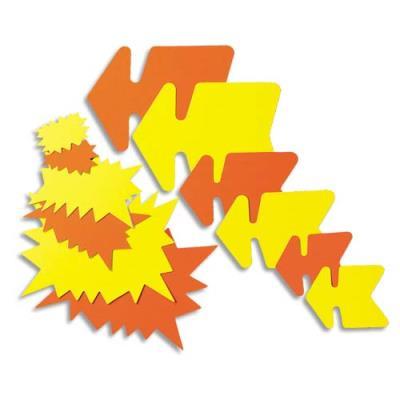 Etiquettes - carton - fluo - forme éclaté - 16 x 24 cm - coloris jaune et orange - paquet de 25 (photo)
