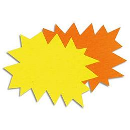 Etiquettes - carton - fluo - forme éclaté - 8 x 12 cm - coloris jaune et orange - paquet de 50 (photo)