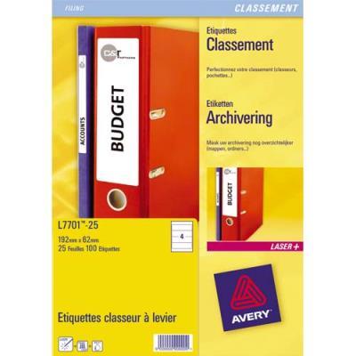 Etiquettes Avery L7702 - pour dos de classeur - 192 mm x 39 mm - impression laser - boite de 175