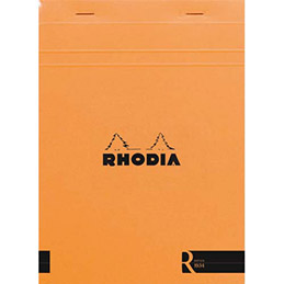 Bloc de bureau R by Rhodia couverture orange - 90 g - 14,8 x 21 cm - 70 feuilles ligné (photo)