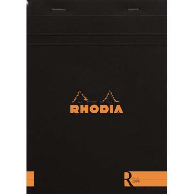 Bloc de bureau R by Rhodia couverture noire - 90 g - 14,8 x 21 cm - 70 feuilles ligné (photo)