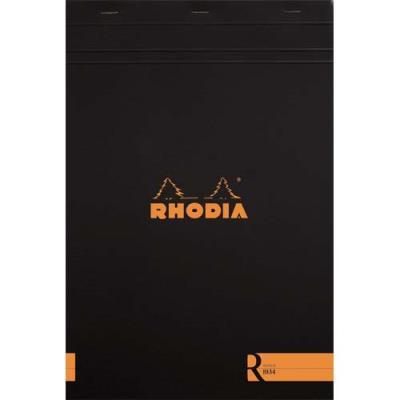 Bloc de bureau R by Rhodia - couverture noire - 21 x 29,7 cm - 70 feuilles ligné (photo)
