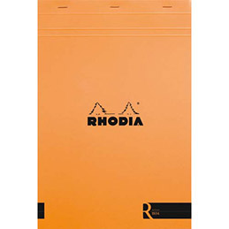 Bloc de bureau R by Rhodia couverture orange - 90 g - 22,5 x 29,7 cm - 70 feuilles ligné (photo)