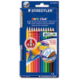 Crayons de couleur aquarellables Staedtler Noris Club + 1 pinceau adapté - étui  de 12 (photo)