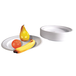 Assiettes plates rigides - plastique - diamètre 22 cm - blanches - sac de 50 (photo)