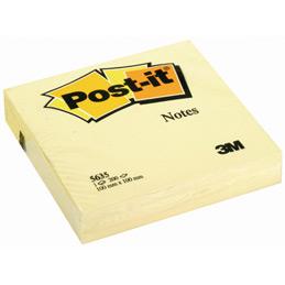Bloc de 200 feuilles notes repositionnables 3M Post-It- 100x100 mm - jaunes unies (photo)