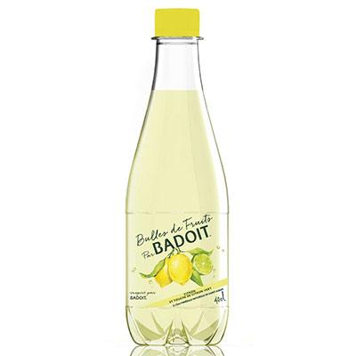 Bulles de fruits Eau minérale gazeuse Citron touche de citron vert - bouteille 40 cl - paquet 12 x 400 millilitres (photo)