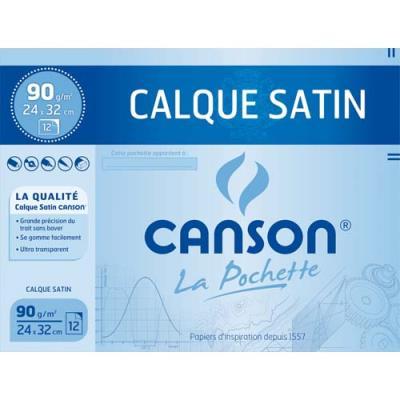 Feuilles de papier calque Canson - 24 x 32 cm - 70g - avec pastilles de stabilisation - pochette de 12