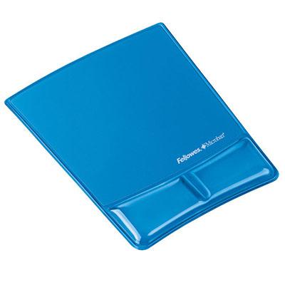 Tapis de souris et repose-poignet Fellowes Health-V Crystal - bleu (photo)
