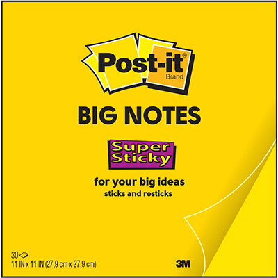 Big Notes Post-It jaune - 279 x 279 mm - 30 feuilles (photo)