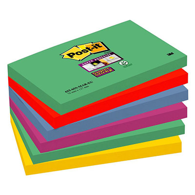 Blocs de 90 feuilles Super Sticky 3M post-it - 76 x 127 mm - couleurs Cape Town (photo)