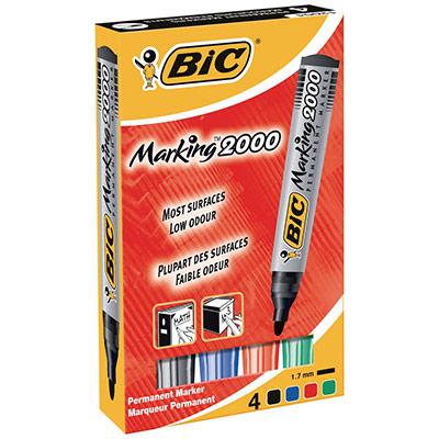 Bic Marking 2000 - marqueur permanent pointe ogive - pochette de 4 - bleu, noir, rouge, vert (photo)
