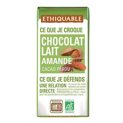 Mini tablette de chocolat au lait aux éclats d'amandes - 30 g (photo)