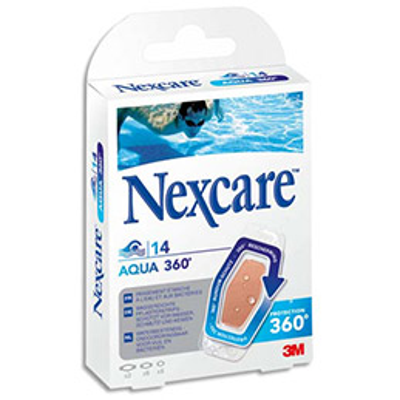 Boîte de 14 pansements Nexcare en polyuréthane Aqua - 3 tailles (photo)