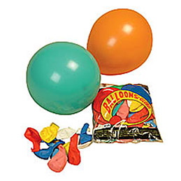 Sachet de 100 ballons baudruche gonflables grand modèle - coloris assortis (photo)