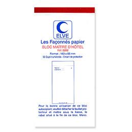 Bloc Maitre d'hôtel autocopiant - dupli - 50 feuillets - format 8,5 x 16,5 cm (photo)