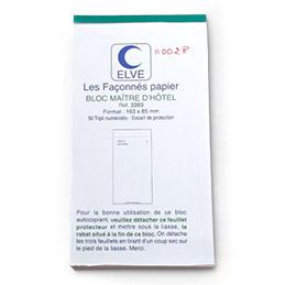 Bloc Maitre d'hôtel - 50 feuillets autocopiant numérotés - format 8,5 x 16,5 cm - tripli (photo)