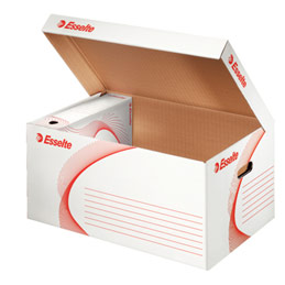 Conteneur à archives Esselte - ouverture sur le dessus - en carton ondulé - kraft blanc (photo)