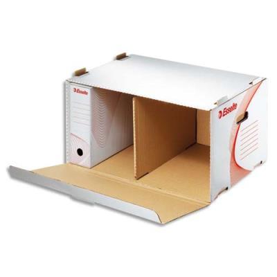 Conteneur à archives Esselte - ouverture frontale - carton ondulé - kraft blanc (photo)