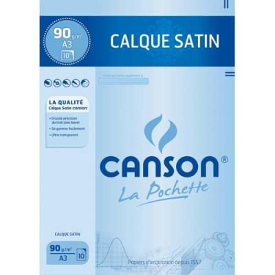 Feuilles papier calque Canson 17153 - satin - 90 g - A3 : 29,7 x 42 cm - pochette de 10