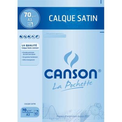 Feuilles papier calque Canson 17151 - satin - 70g - A3 - pochette de 10