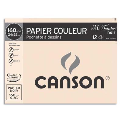 Pochette de 12 feuilles Canson - mi teintes - format 24 x 32 cm - 160 g - coloris noir - Réf : 317104