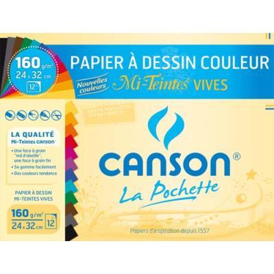 Feuilles papier dessin Canson - mi-teintes - 160g - 24x32cm- assortis vifs - pochette de 12 (photo)