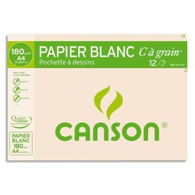 Pochette de 12 feuilles à dessin 'C ' à grain 180 g - format A4 21 x 29,7 cm - blanc - Réf : 27-107 (photo)