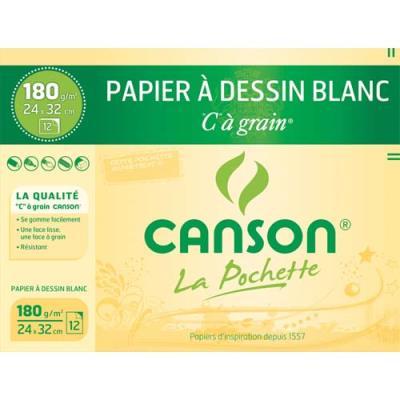 Pochette de 12 feuilles à dessin Canson 'C' à grain - 180 g - Format 24 x 32 cm - blanc - Réf : 27-102 (photo)