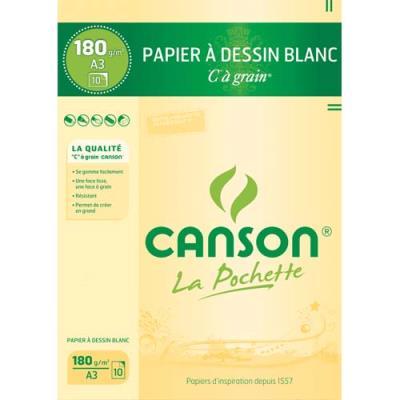Pochette de 10 feuilles à dessin 'C ' à grain 180 g - Format A3 - blanc - Réf : 27-106 (photo)