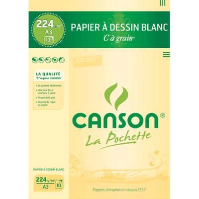Pochette de 10 feuilles à dessin Canson 'C' à grain - 224 g - Format 29,7 x 42 cm - blanc - Réf : 27-115 (photo)