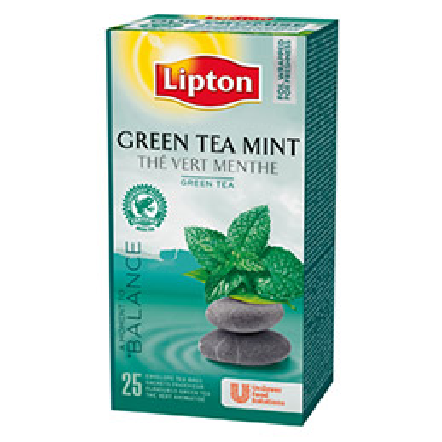 Boîte de 25 sachets de thé gout vert menthe Lipton (photo)