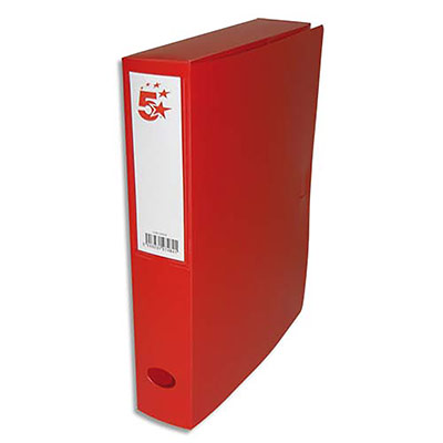 Boîte de classement - dos de 6 cm - en polypropylène 7/10e - fermeture clip - rouge (photo)