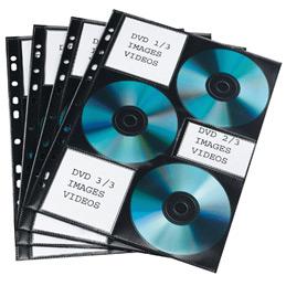 Pochettes perforées pour 6 CD Elba - matière non tissée - paquet de 10 (photo)