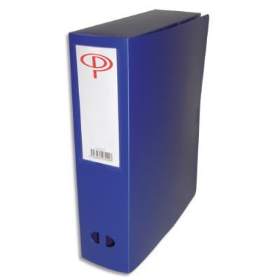 Boîte de classement - dos de 8 cm - en polypropylène 7/10e - fermeture clip - bleu (photo)