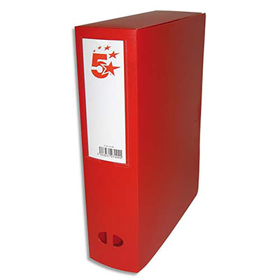 Boîte de classement - dos de 8 cm - en polypropylène 7/10e - fermeture clip - rouge (photo)