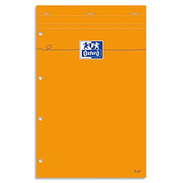 Bloc de bureau Oxford - 80 g - 21 x 32cm - petits carreaux - perforation 4 trous - 80 feuilles (photo)