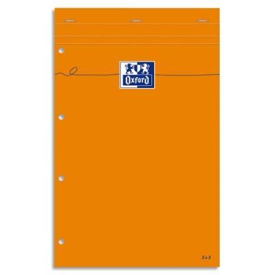 Bloc Oxford jaune - 80 g - 21 x 32cm - travers + marge - Perforation 4 trous - 80 feuilles