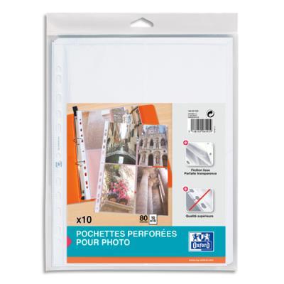 Pochettes perforées Elba pour 8 photos 10x15 cm - polypropylène 9/100e - fond transparent - sachet de 10