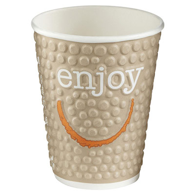 Gobelets boisson chaude / froide en carton recyclable Huhtamaki Enjoy - 250 ml - couleurs assorties - lot de 30 (photo)