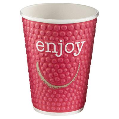 Gobelets boisson chaude / froide en carton recyclable Enjoy de 300 ml - couleurs assorties - lot de 34 (photo)