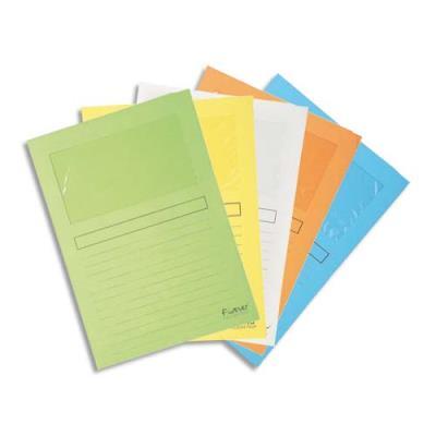 Paquet de 25 pochettes coins Exacompta en carte 120 g avec fenêtre - coloris assortis pastel