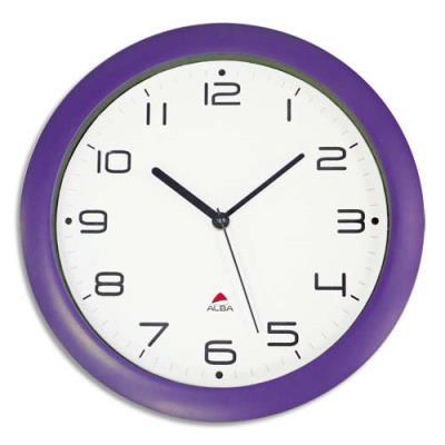 Horloge murale à quartz Alba Hornew - cadre violet - diamètre 30 cm - alimentation pile 1,5V non fournie (photo)