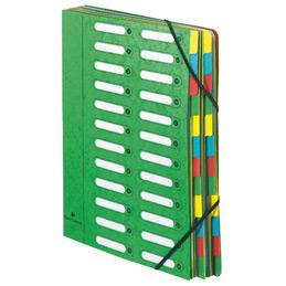 Trieur en carte lustrée à fenêtre découpées à 24 compartiments Exacompta - fermeture par élastiques - 4  assortis ( bleu - rouge - vert - jaune )