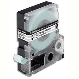 Cassette Epson pour LW-300/400/900P - LC4TBW9Adhésif Fort Noir sur Transparent 12/9 C53S625410 (photo)