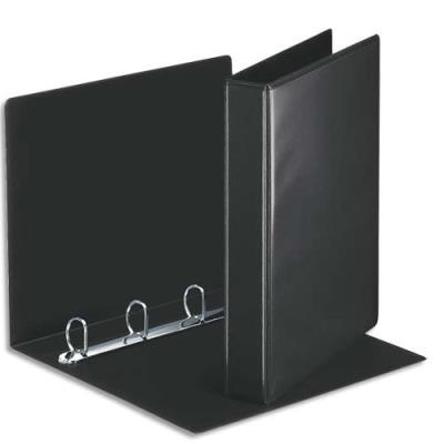 Classeur personnalisable deux faces Esselte - 4 anneaux - PVC noir - dos de 5 cm