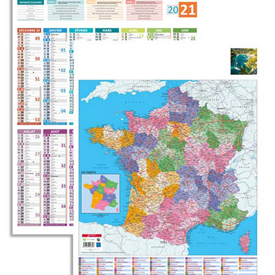 Calendrier 2020 vertical - 43x55 cm - 14 mois - avec carte de France admninistrative au dos (photo)